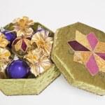 Gift box with balls — Stock Photo
