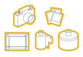 Icon set of photo equipment — Vector de stock