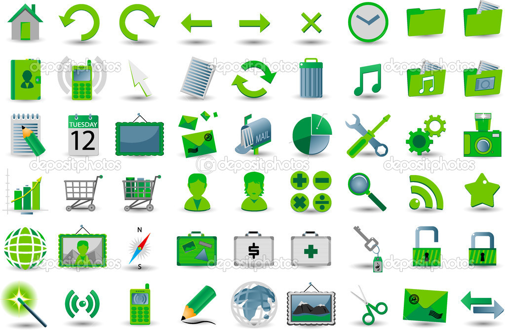 Set of 54 green web icon — Stock Vector #2457818