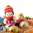 Christmas greeting - white snowman — Foto Stock