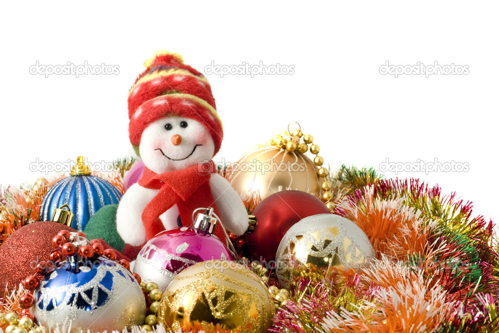 Christmas greeting - Funny white snowman and decoration balls over white  Stock Photo #1342530