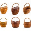 Collage of Wicker woven basket — Stock Photo