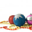 Christmas - red, blue and pink balls — Stock Photo