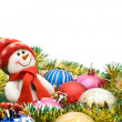 Christmas greeting - Cute snowman - Stock Photo