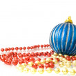 Christmas - colorful beads and ball — Stock Photo