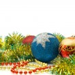 Christmas - colorful tinsel and balls — Stock fotografie