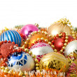 Christmas greeting - decoration baubles — Stock Photo