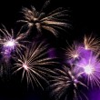 Wonderful Fireworks in the sky at night - Stock Photo