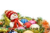 Christmas greeting - Cute snowman — Stock Photo