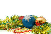 Christmas - colorful tinsel and balls — Stock Photo