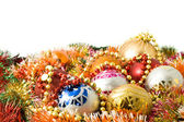 Christmas greeting - decoration balls — Stock Photo
