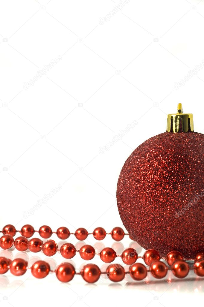 Christmas is coming. Red Decoration - ball and tinsel over white background — Stock Photo #1359398