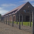 Wire fence and barrack in Auschwitz — Stock Photo