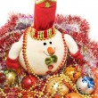 Xmas greetings - Funny white snowman — Stock Photo