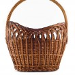 Big Wicker woven basket over white — Stock Photo