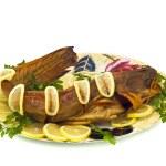 Tasty dinner - bloated catfish — Stock Photo