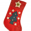 Red Christmas stocking for gifts — Stock Photo