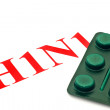 Stock Photo: H1N1 - Closeup of green pills
