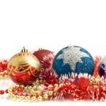 Beautiful Christmas decoration - colorful tinsel — Stock Photo