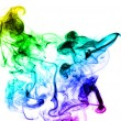 Abstract colorful smoke shape over white — Stock Photo