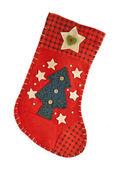 Красный рождественские чулки для подарков — Стоковое фото