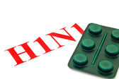 H1N1 - Closeup of green pills — Stock Photo