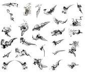 25 schwarzen abstrakt Rauch Formen — Stockfoto