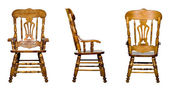 Collage of 3 antique wooden chairs — Stock Photo
