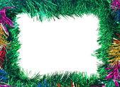 Weihnachten bunten lametta frame — Stockfoto
