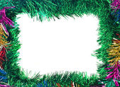 Christmas Colorful tinsel frame — Stock Photo