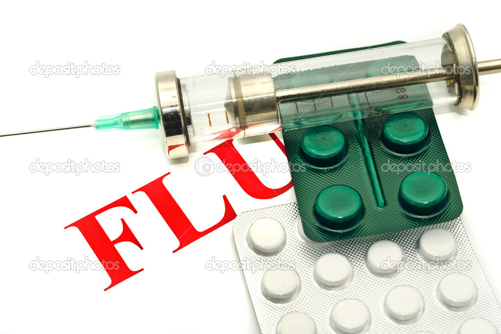 Swine FLU H1N1 disease alert - pills and syringe over white  — Stock Photo #1364362