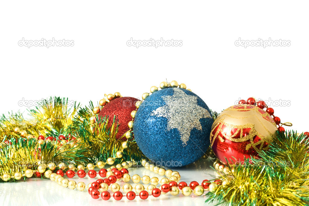 Christmas is coming. Decoration - colorful tinsel and balls over white background — Stock Photo #1365611