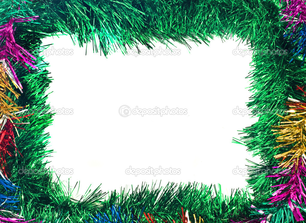 Christmas is coming. Colorful tinsel frame useful as holiday background — Stock fotografie #1365616