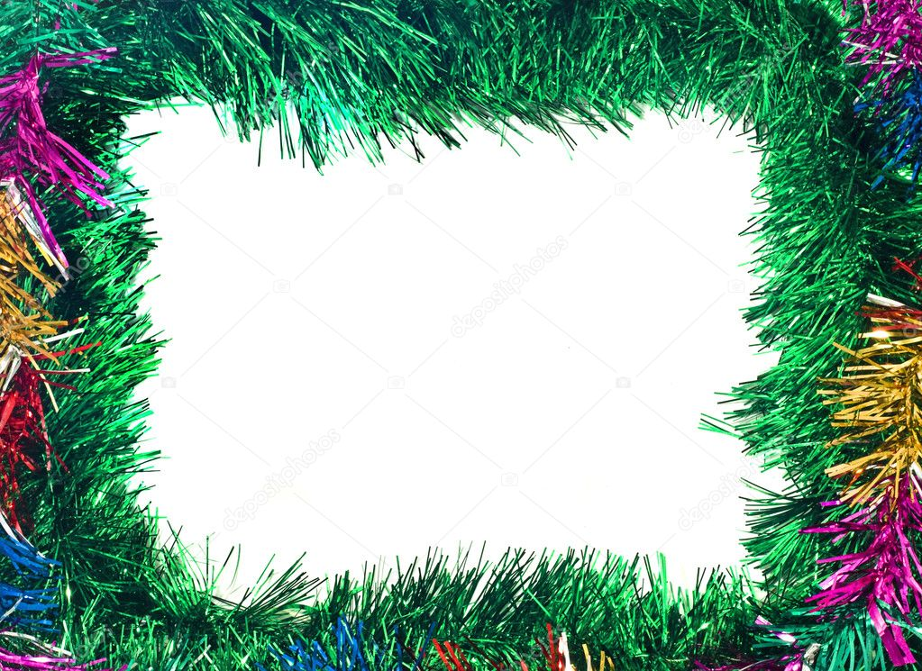 Christmas is coming. Colorful tinsel frame useful as holiday background — Stockfoto #1365616
