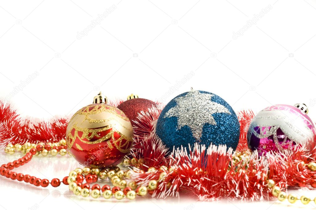 Beautiful Christmas decoration - colorful tinsel and balls over white  Stock Photo #1366795