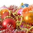 Christmas decoration - baubles, tinsel — Stock Photo