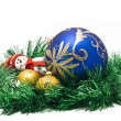 Christmas toy with two colorful Balls - Stock Photo