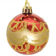 Christmas greetings - red bauble — Stock Photo