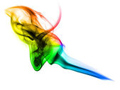Magic colorful fume curves on white — Stock Photo