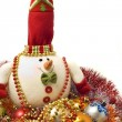 Lovely white snowmand Xmas decoration balls — Stok Fotoğraf #1388769