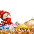 Stock Photo: Funny Christmas snowmand decoration balls