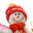 Close-up of Funny Christmas snowman — Zdjęcie stockowe #1388795