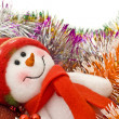 Christmas snowman with decoration balls — Stock Photo