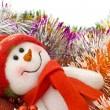 Christmas snowman with decoration balls — Stock Photo