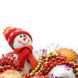 Christmas comes. Cute snowman — Stockfoto