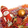 Christmas greetings - Funny snowman and decorati — Stock Photo