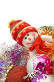 Xmas greetings - Funny white snowman — Стоковое фото