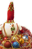 Lovely white snowman and Xmas decoration balls — Stock Photo