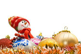 Funny Christmas snowman and decoration balls — Stock Photo