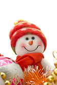 Close-up of Funny Christmas snowman — Stock Photo